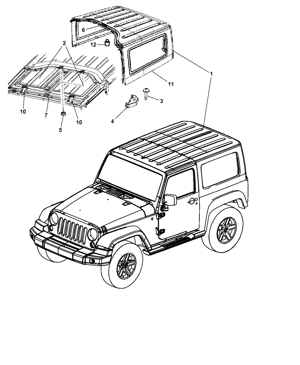 68088042AA - Genuine Jeep SEAL-HARD TOP FRONT