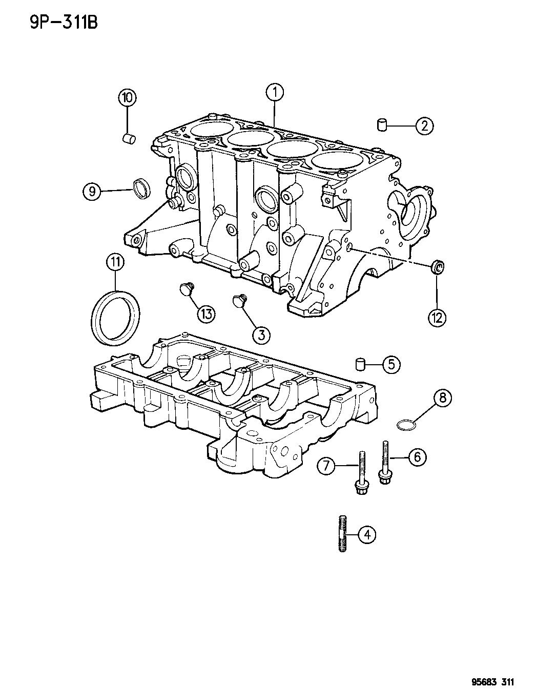 1996 Dodge Avenger Cylinder Block Mopar Parts Giant Engine Diagram Thumbnail 2