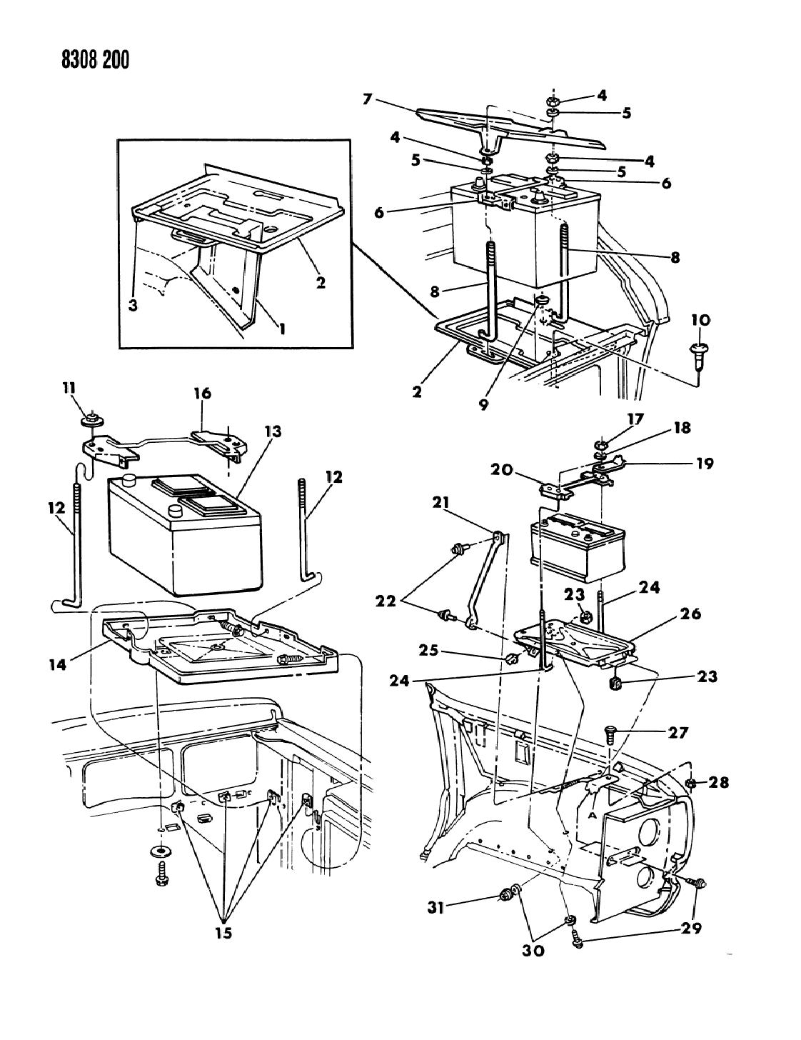 1989 Dodge Ram Van Battery Tray Mopar Parts Giant Wiring Diagram