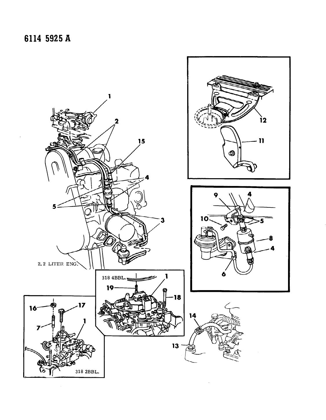 1986 Chrysler LeBaron Base Carburetor Fuel Filter & Related Parts -  Thumbnail 1