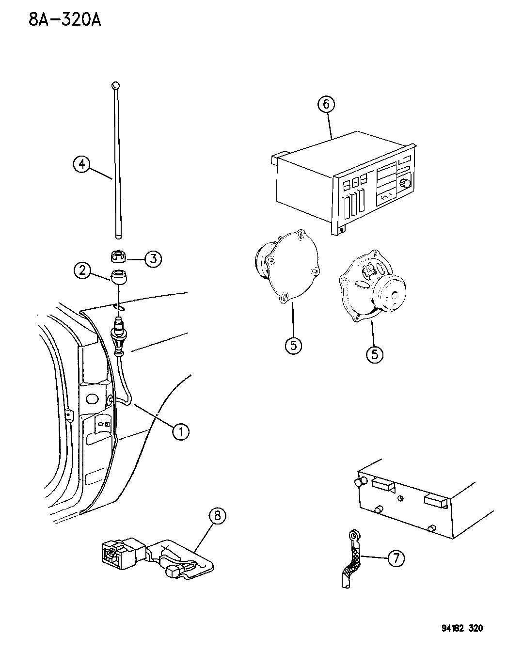 1994 Chrysler Lebaron Sedan Radio Speaker Antenna 94 Wiring Diagram