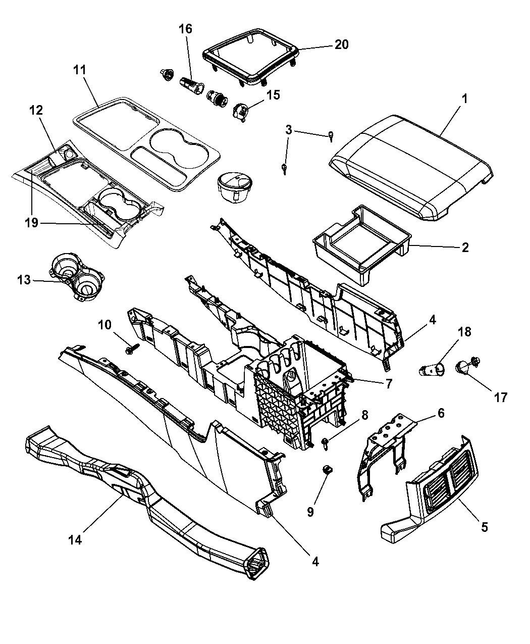 1rq591glaa Genuine Mopar Armrest Console