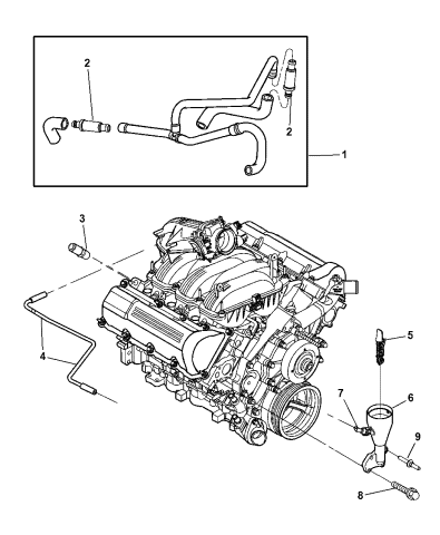 53013723AC - Genuine Mopar HOSE-CYLINDER HEAD TO AIR CLEANE | 2005 Jeep Liberty Sport Engine Diagram |  | Mopar Parts Giant