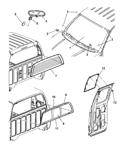 2005 Dodge Dakota Windshield & Mirror - Rear Window Diagram