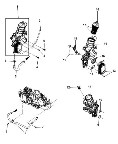 2007 Dodge Nitro Engine Oil Cooler And Filter Coolant Tubes
