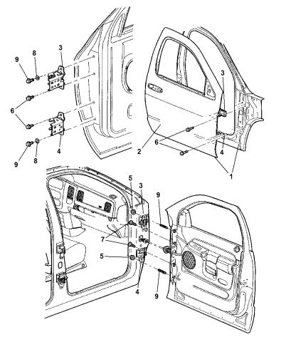 2004 Dodge Ram 2500 Door Front Shell Hinges