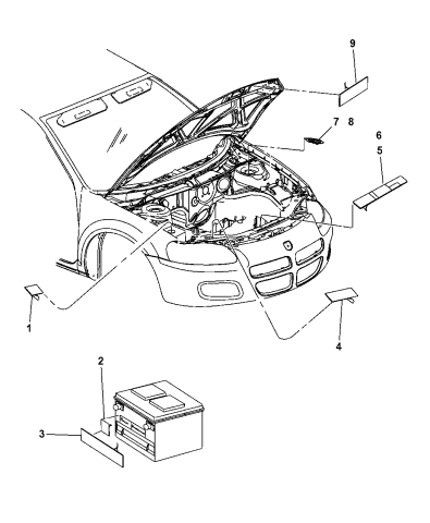 2005 Chrysler Sebring Sedan Convertible Engine Compartment