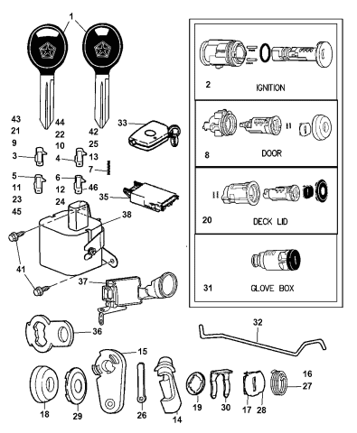 5139207aa - genuine mopar cylinder-ignition lock  mopar parts giant