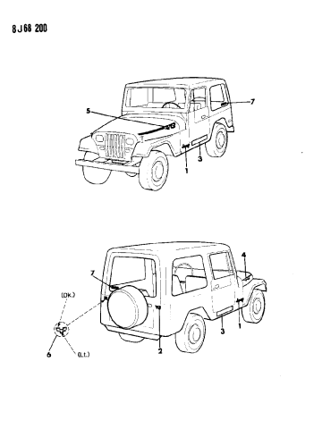 1987 Jeep Wrangler Decals Exterior Mopar Parts Giant