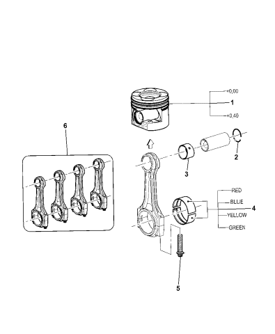 2011 Jeep Wrangler Pistons Piston Rings Connecting Rods Connecting Rod Bearing