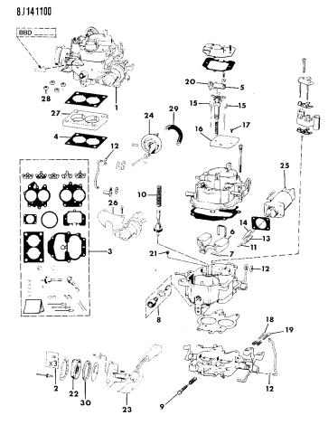 Carburetor & Component Parts - 1990 Jeep Wrangler