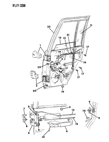 1991 Jeep Grand Wagoneer Door Rear Shell Hinges Glass Regulator