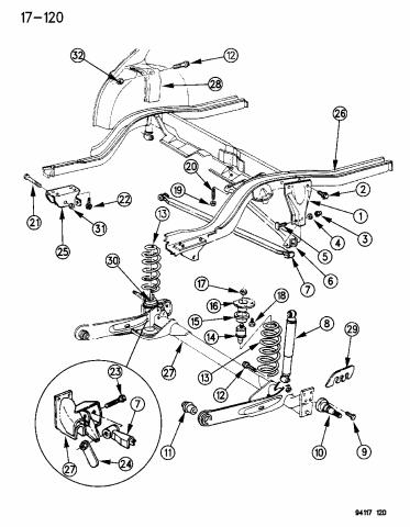 suspension - rear - 1994 chrysler lebaron sedan  mopar parts giant