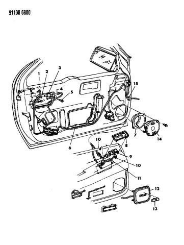 1991 Dodge Daytona Wiring Switches Door Mopar Parts Giant