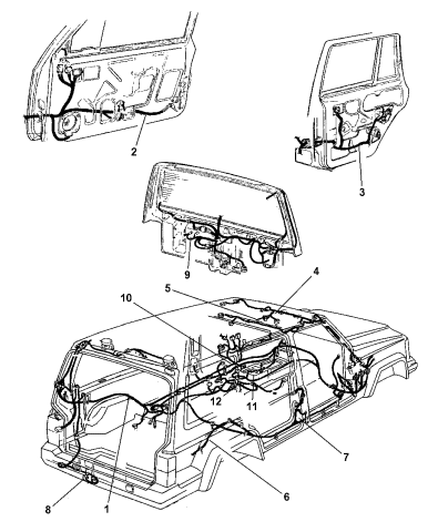 2001 Jeep Cherokee Wiring Body & Accessory