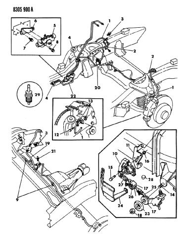 lines & hoses, brake - 1988 dodge dakota  mopar parts giant