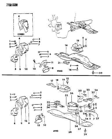 1987 Dodge Ram 50 Engine Mounting Mopar Parts Giant