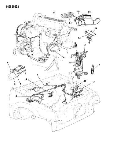 1989 Dodge Shadow Wiring - Engine - Front End & Related Parts | 1989 Dodge Shadow Wiring Schematic |  | Mopar Parts Giant