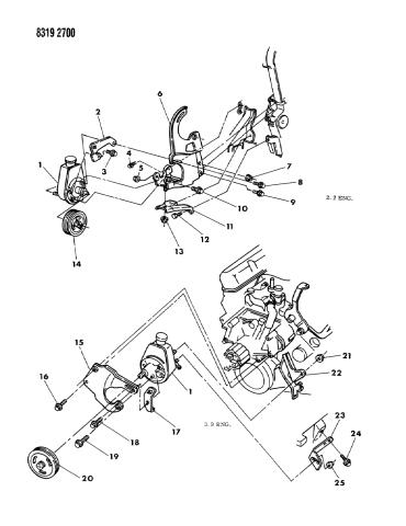 pump mounting - power steering - 1988 dodge dakota  mopar parts giant